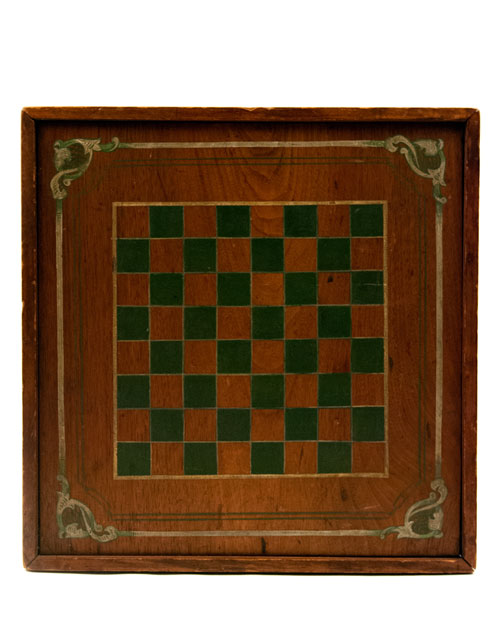 Antique American Game Board in Original Green and White Paint