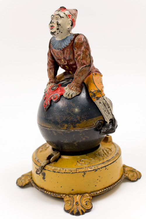 Antique Mechanical Cast Iron Clown on Globe Bank in Original Paint