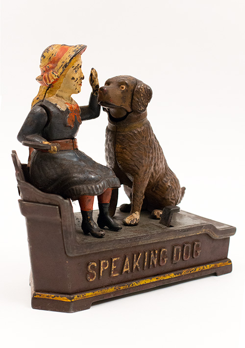 19th Century Antique Mechanical Bank Speaking Dog