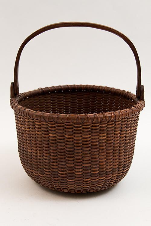 Antique Nantucket Basket Original 19th Century Mitchell Ray Rhode Island Wooden Bottom Lightship Baskets for Sale