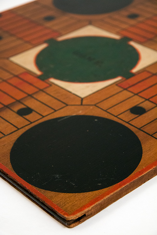 Four Color Antique 19th Century American Folk Art Hand Painted Parcheesi Game Board