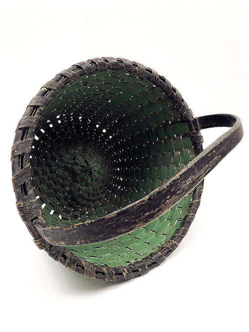 Original Green and Black Paint Decorated Antique Country Primitive American Splint Woven Gathering Basket For Sale