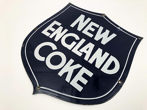 Antique Burdick Enamel Sign Company New England Coke Single Sided Porcelain Sign