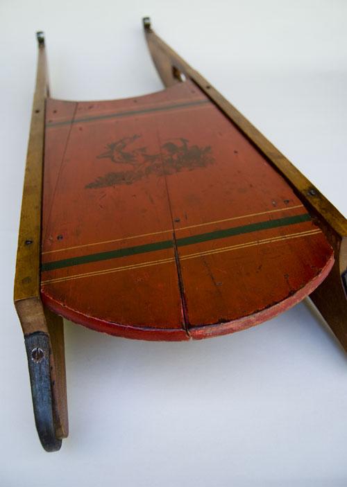 Antique american folk art victorian sled stenciled elk for Antique sled decoration