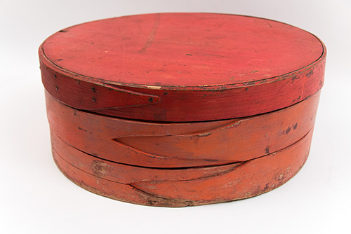 Early American Country Primitive New England Cheese Box in Old Red Paint Found in New Hampshire
