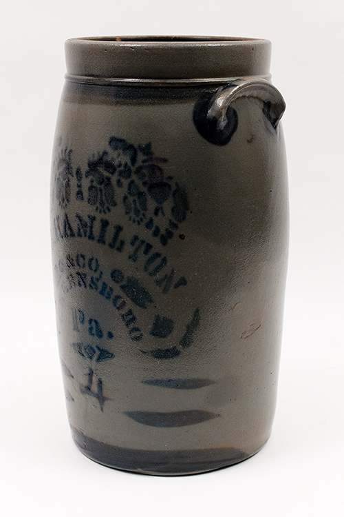 James Hamilton and Company 4 Gallon Blue Decorated Salt Glazed Stoneware Churn