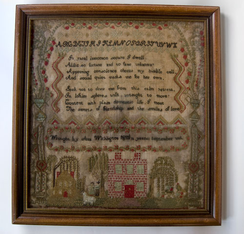 Antique American Dorchester Suffolk County Early 19th Century Massachusetts Sampler