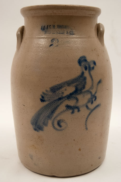 J.A. and C.W. Underwood 2 Gallon Cobalt Blue Freehand Decoarted Churn with Bird on Branch for Sale