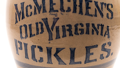 West Virginia Antique Stoneware Old Virginia Pickles General Store Jar Blue Decorated 19th Century Country Primitive
