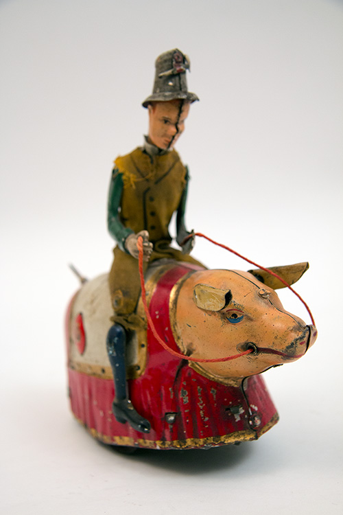 Antique German Tin Windup Paddy and the Pig Lehmann Toy for Sale from Z and K Antiques