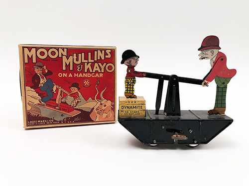 Antique Tin Windup Toy 1930s Louis Marx and Company Moon Mullins and Kayo on a Handcar New York  N.Y.