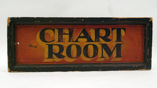Antique Painted Wooden Sign: Chart Room Boat Sign, Vibrant and Colorful Antique American Sign for Sale