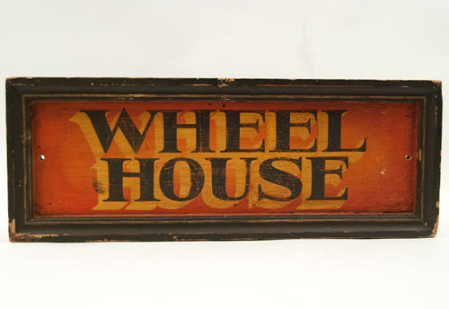 Antique Painted Wooden Sign: Wheel House Boat Sign, Vibrant and Colorful Antique American Sign for Sale