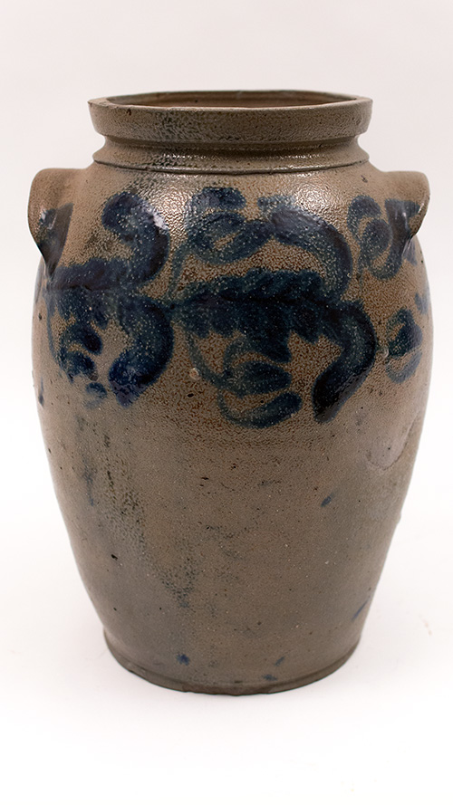 Baltimore Antique Cobalt Decorated Salt Glazed Stoneware Crock