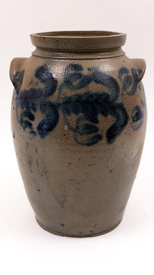Baltimore Md Antique American Stoneware Three Gallon Blue Decorated Salt Glaze Crock For Sale on Cobalt Rims