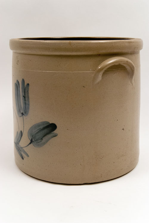 Cobalt Blue Decorated Tulip Freehand Four Gallon Salt Glaze Stoneware Crock