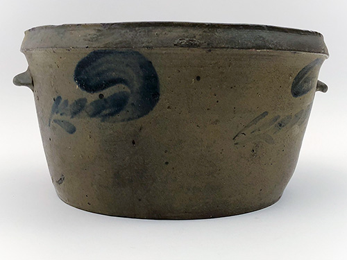 Blue Decorated Stoneware Cake Pan Antique Crock Virginia Salt Glazed 19th Century Pottery For Sale