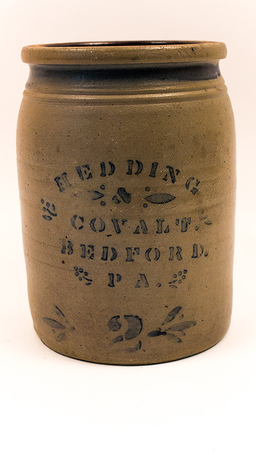 Antique Stoneware Blue Decorated Bedford PA Pottery For Sale