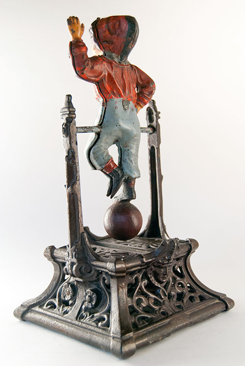 Boy on Trapeze  Camp Antique Cast Iron Mechanical Bank in All Original Paint