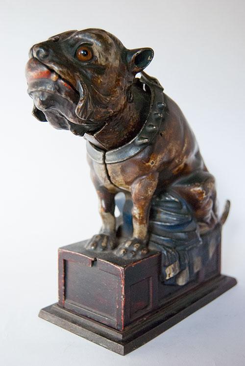 Bull Dog Antique Mechanical Cast Iron Bank