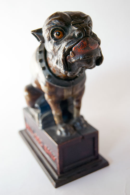 Bull Dog Antique Cast Iron Mechanical Bank in All Original Paint