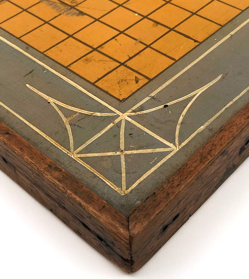19th Century Victorian 3 color Folksy Parcheesi Gameboard With Compass Decoration and Pennsylvania Dutch German Origin