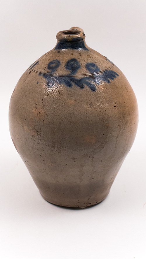 New York Antique Early Blue Decorated Ovoid Salt Glazed Jug
