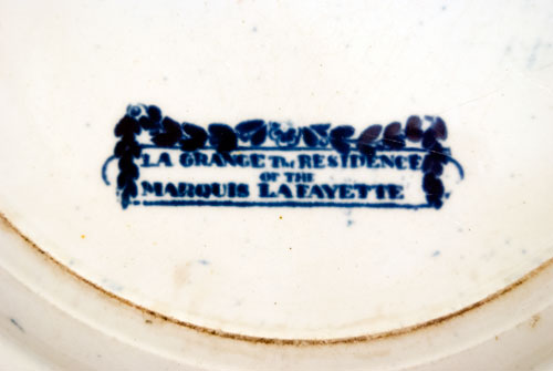 Dark Blue Historical Staffordshire Pottery La Grange Residence of the Marquis Lafayette Plate Blue and White 19th Century Ceramics