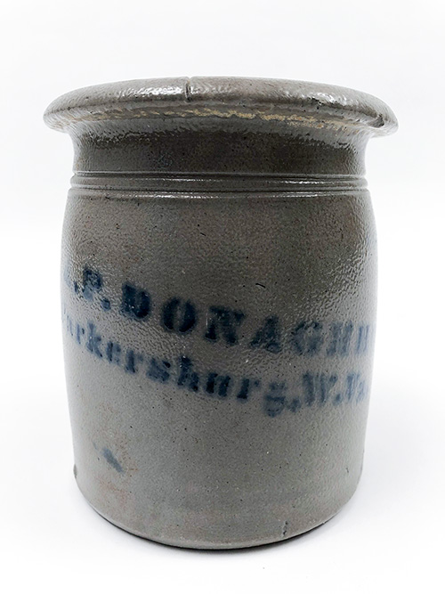 Parkersburg West Virginia A.P. Donaghho 1 Quart Blue Decorated Tophat Stoneware Wax Sealer Canning Jar For Sale From Z and K Antiques