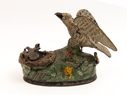 Eagle and Eaglets Antique 19th Century Cast Iron Mechanical Bank For Sale
