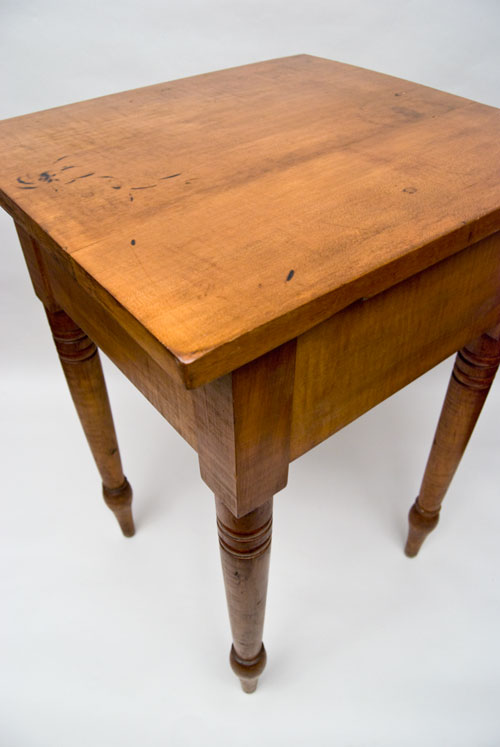 Antique American Tiger Maple Work Table One Drawer Stand Turned Legs