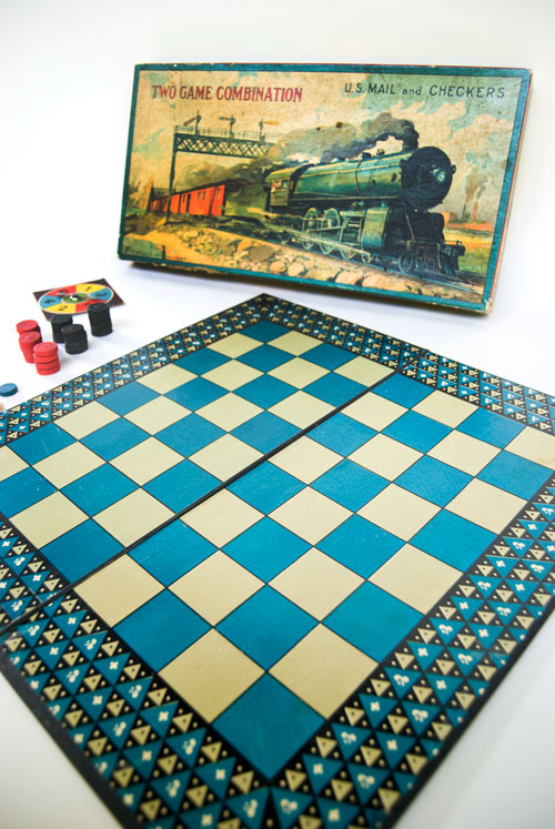 Two Game Combination U.S. Mail and Checkers Milton Bradley Early American Antique Game Train Railroad Board Game For Sale