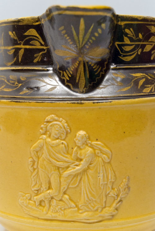 Canaryware Pitcher with Patriotic Americana Eagle and Classical Relief Figures for Sale