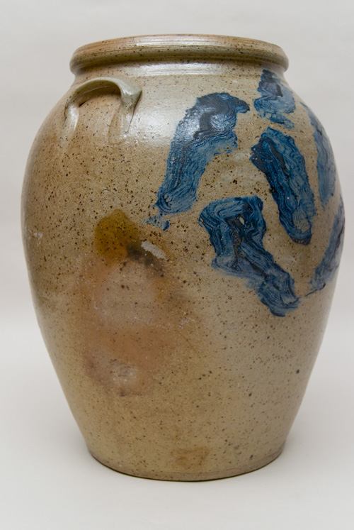 Large Antique American Stoneware Cyclone Decorated Cobalt