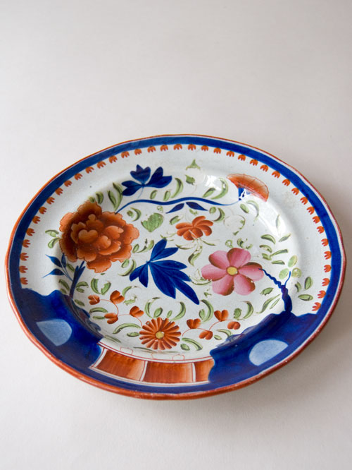 Antique Gaudy Dutch Single Rose Plate For Sale