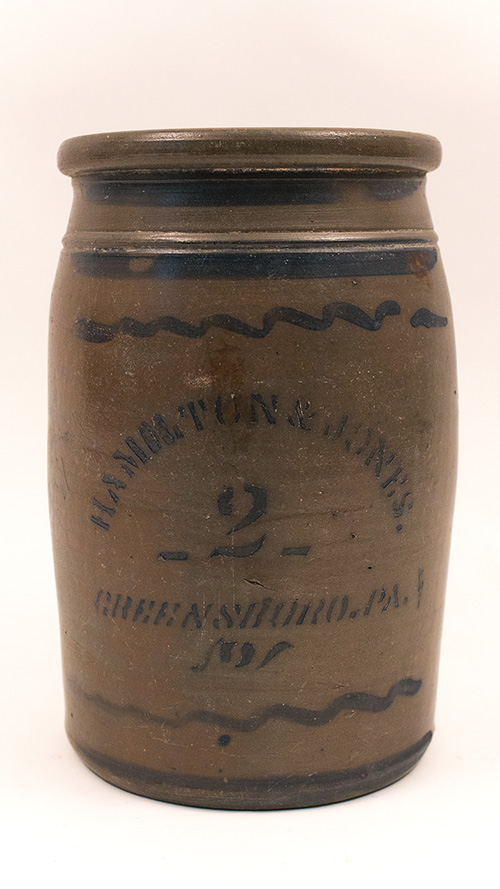 Antique Hamilton and Jones 2 Gallon Blue Decorated Stoneware Jar from Greensboro Pennsylvania PA