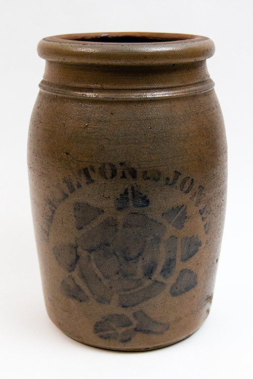 Hamilton and Jones Blue Decorated Rose Stencil Salt Glazed Wax Sealer Stoneware Crock