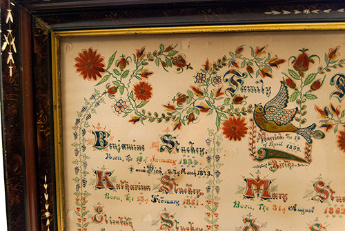 Antique American Hand Painted Fraktur 19th Century Mennonite Indiana Paint Decorated Family Record