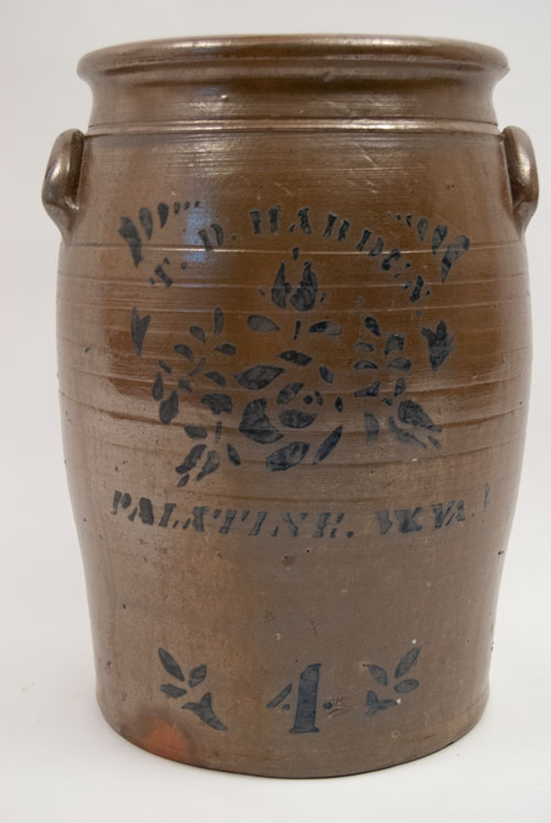 Antique Stoneware Blue Decorated Palentine West VIrginia TD Harden Pottery For Sale