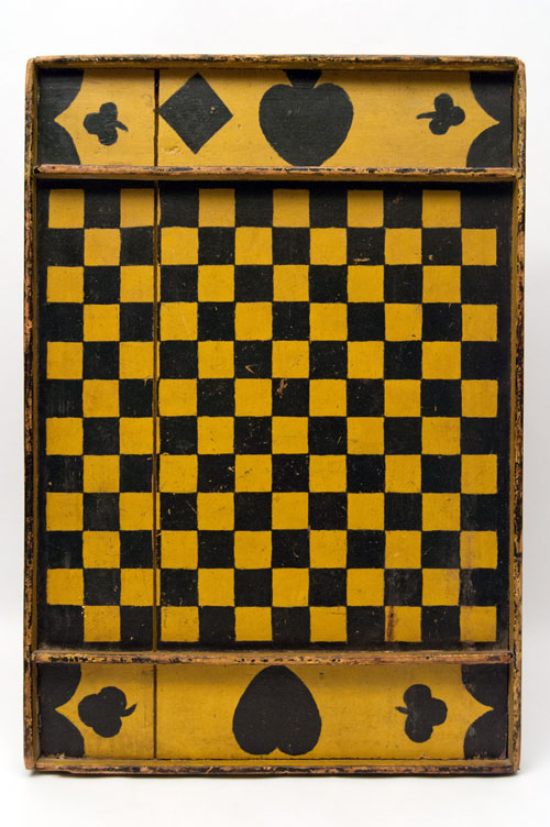 Double Sided Antique Folk Art Game Board in Black and Mustard Original Paint, New England 19th Century