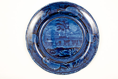 Historical Staffordshire: 1820s American View Baltimore and Ohio Railroad Level Plate For Sale