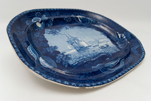 Antique Historical Staffordshire Platter Flow Blue 19th Century Cape Coast Castle on the Gold Coast Africa