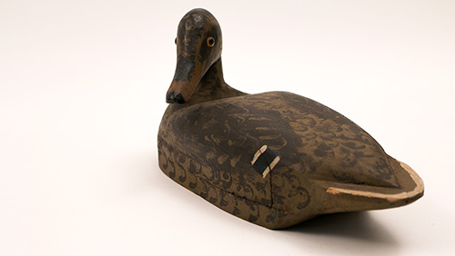 Antique Turned Head Illinois River Mallard Hen Decoy in Original Paint For Sale