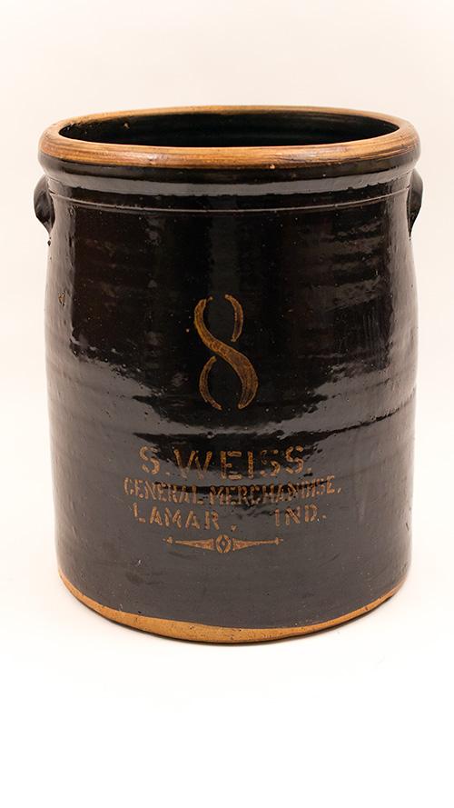 Antique Indiana S Weiss Lamar 8 Gallon Merchant Crock