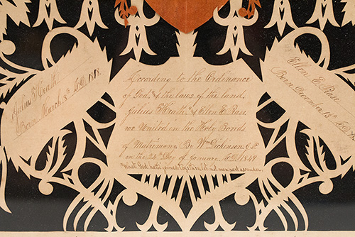Antique American Scherenschnitte John Brown Walker United Papercut 19th Century 1840s Heath Pease Families Ohio