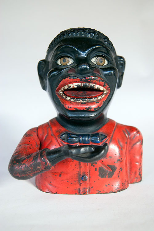 Jolly Nigger Antique Cast Iron Mechanical Bank in All Original Paint