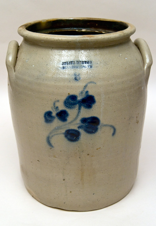 Julius Norton Bennington Vermont 3 Gallon Blue Decorated Antique Stoneware