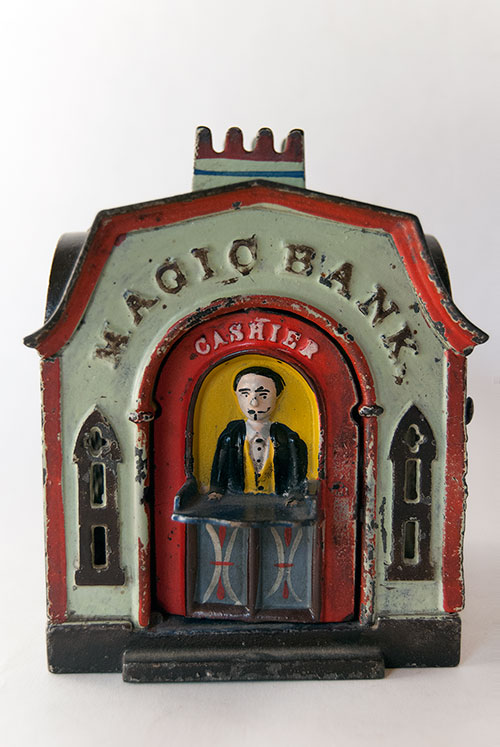 Magic Bank Antique Cast Iron Mechanical Bank in All Original Paint