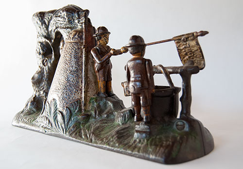 Boy Scout Camp Antique Cast Iron Mechanical Bank in All Original Paint