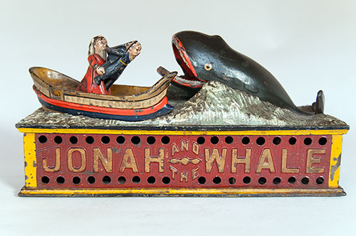 Antique Cast Iron mechanical bank for sale, jonah and the whale